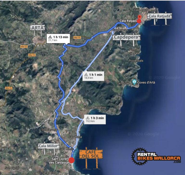 Alquiler de bicicletas Mallorca. Mapa Cala Ratjada.IMG