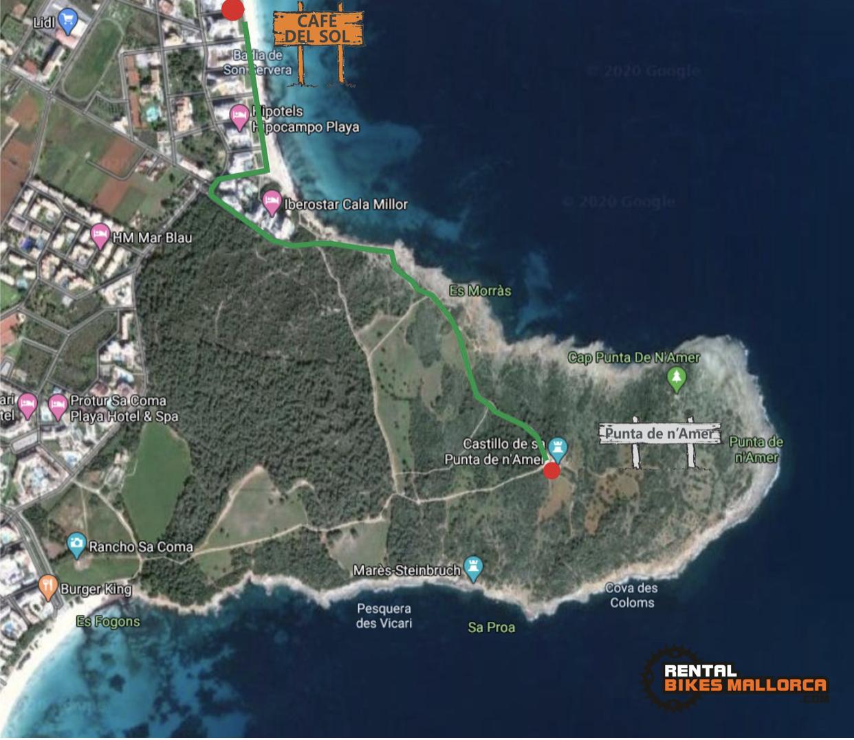 Alquiler de bicicletas Mallorca. Mapa Castillo Punta de N'Amer.IMG