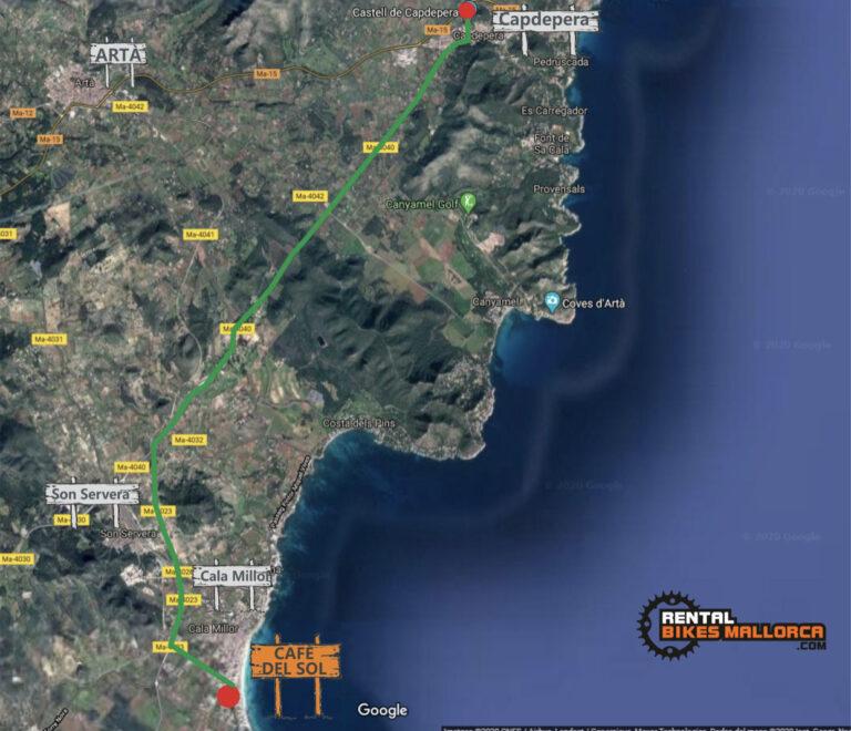 Alquiler de bicicletas Mallorca. Mapa Castillo de Capdepera.IMG