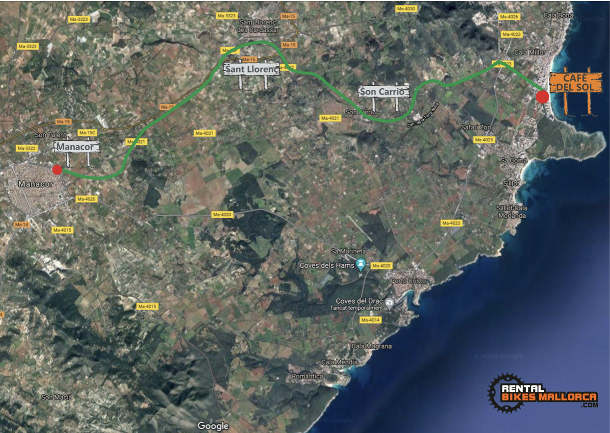 Alquiler de bicicletas Mallorca. Mapa Mercado de Manacor.IMG