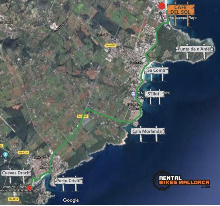 Alquiler de bicicletas Mallorca. Mapa Porto Cristo Cuevas Drach.IMG