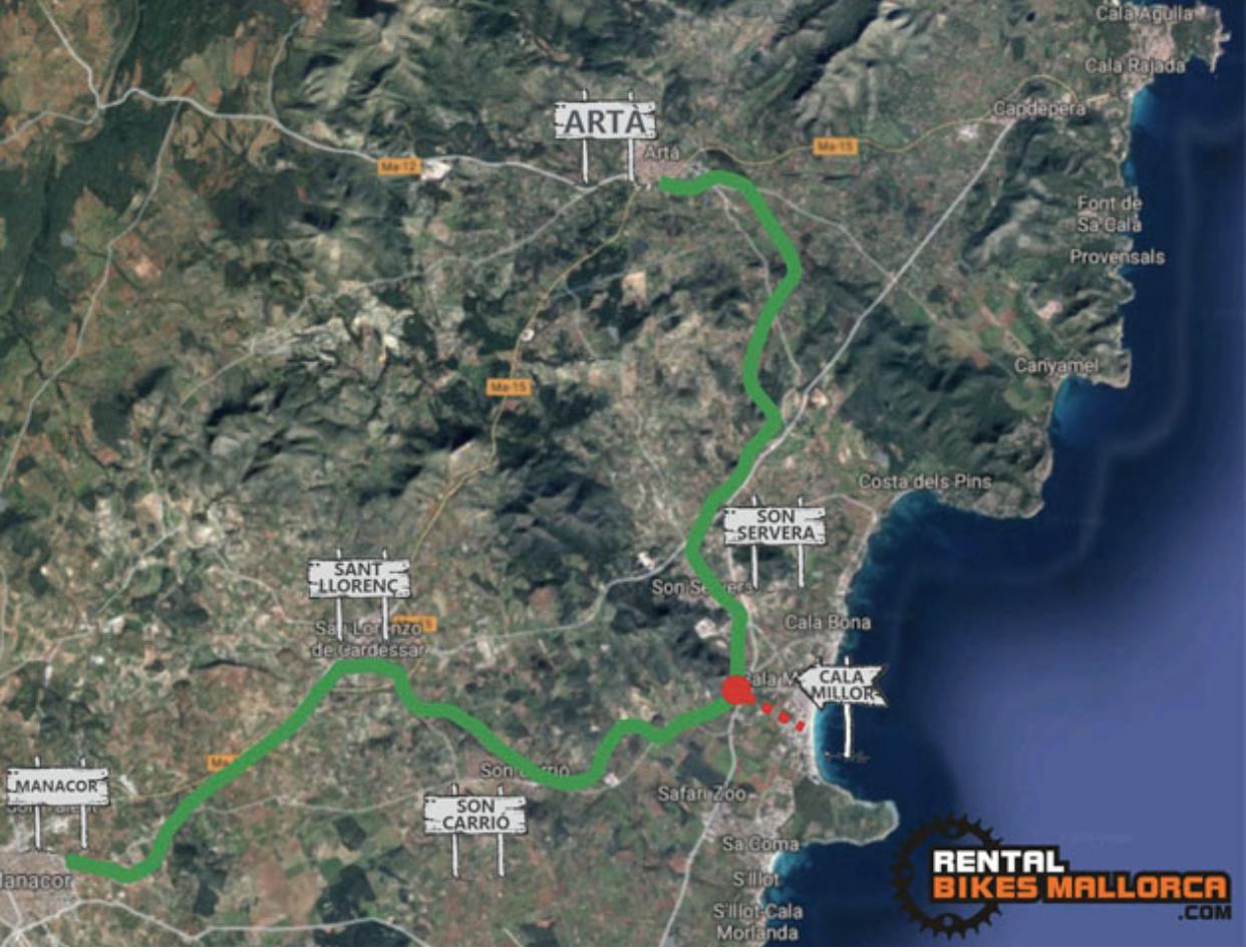 Alquiler de bicicletas Mallorca. Mapa Vía Verde Manacor-Artà.IMG