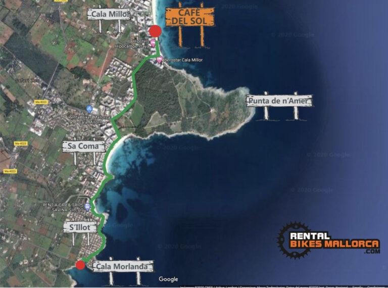 Alquiler de bicicletas Mallorca.Mapa Cala Morlanda.IMG