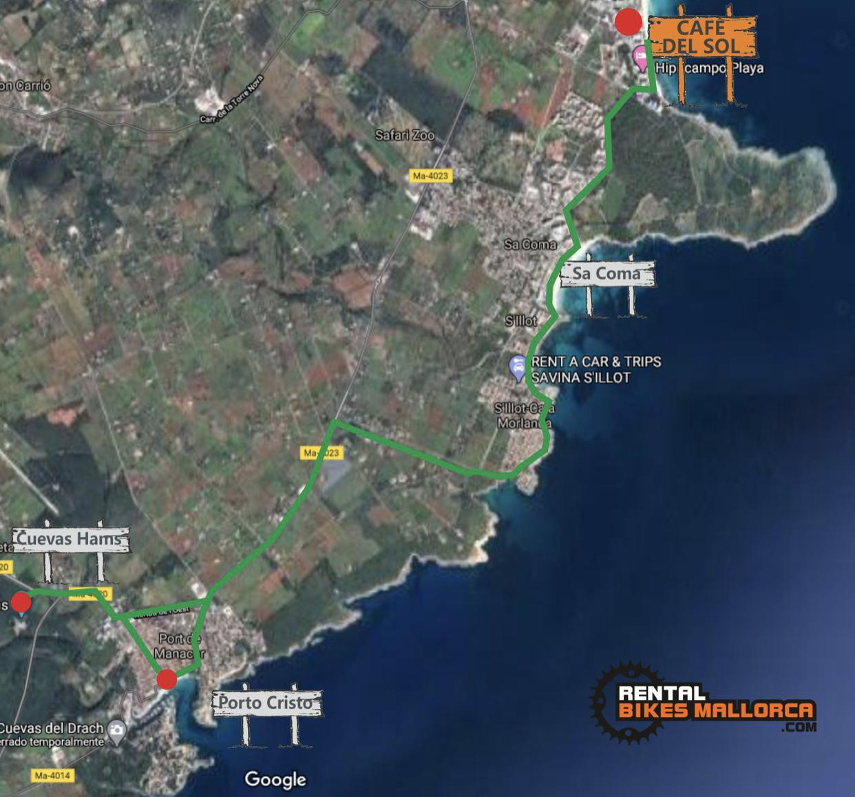 Alquiler de bicicletas.Mapa Porto Cristo cuevas Hams.IMG